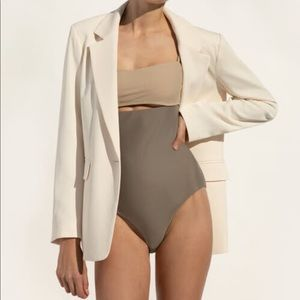 Oak and fort taupe one peice bathing suit small